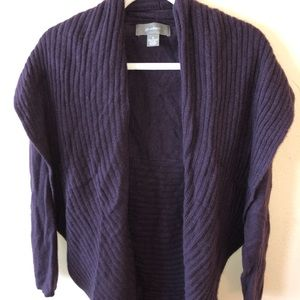 purple cashmere cardigan.